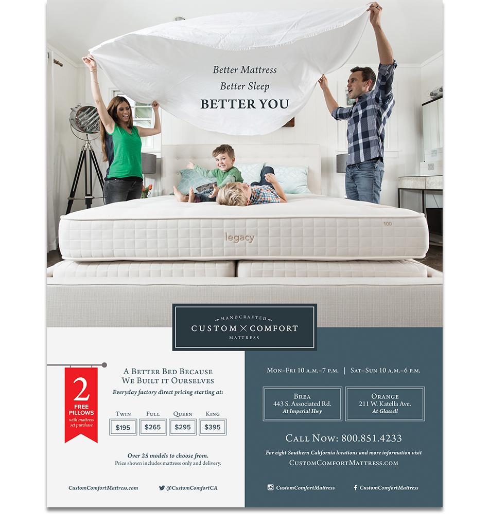 Custom Comfort Mattress Advertising Marketing Branding