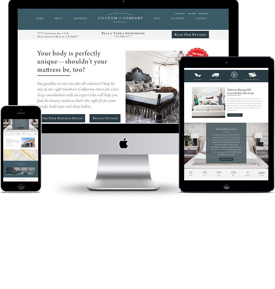 Custom Comfort Mattress Location Landing Page