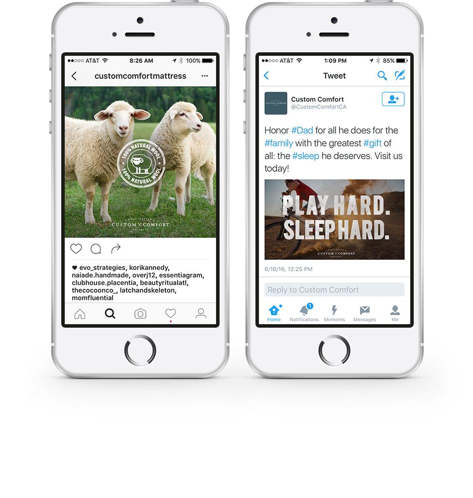 Custom Comfort Mattress Social Media