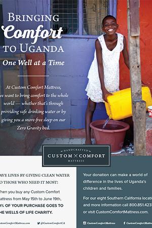 Custom Comfort Mattress Wells of Life Campaign